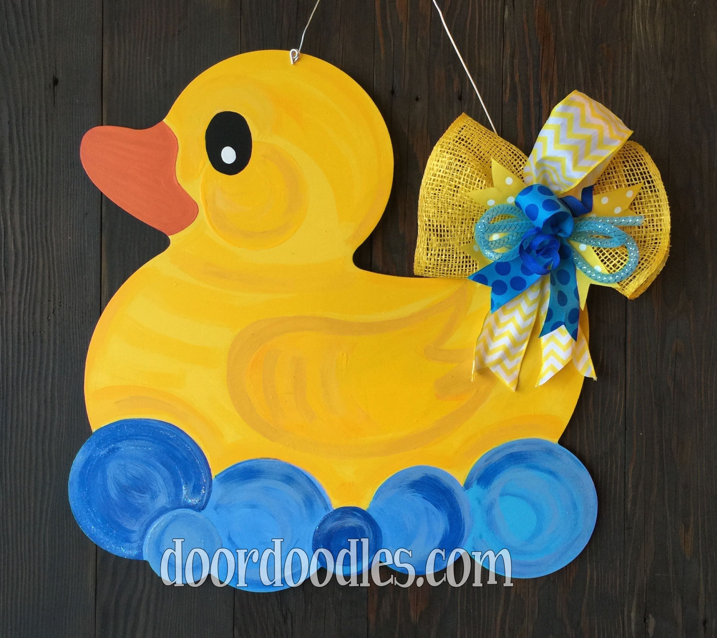 rubber ducky in bubble bath door hanger decoration birth announcement