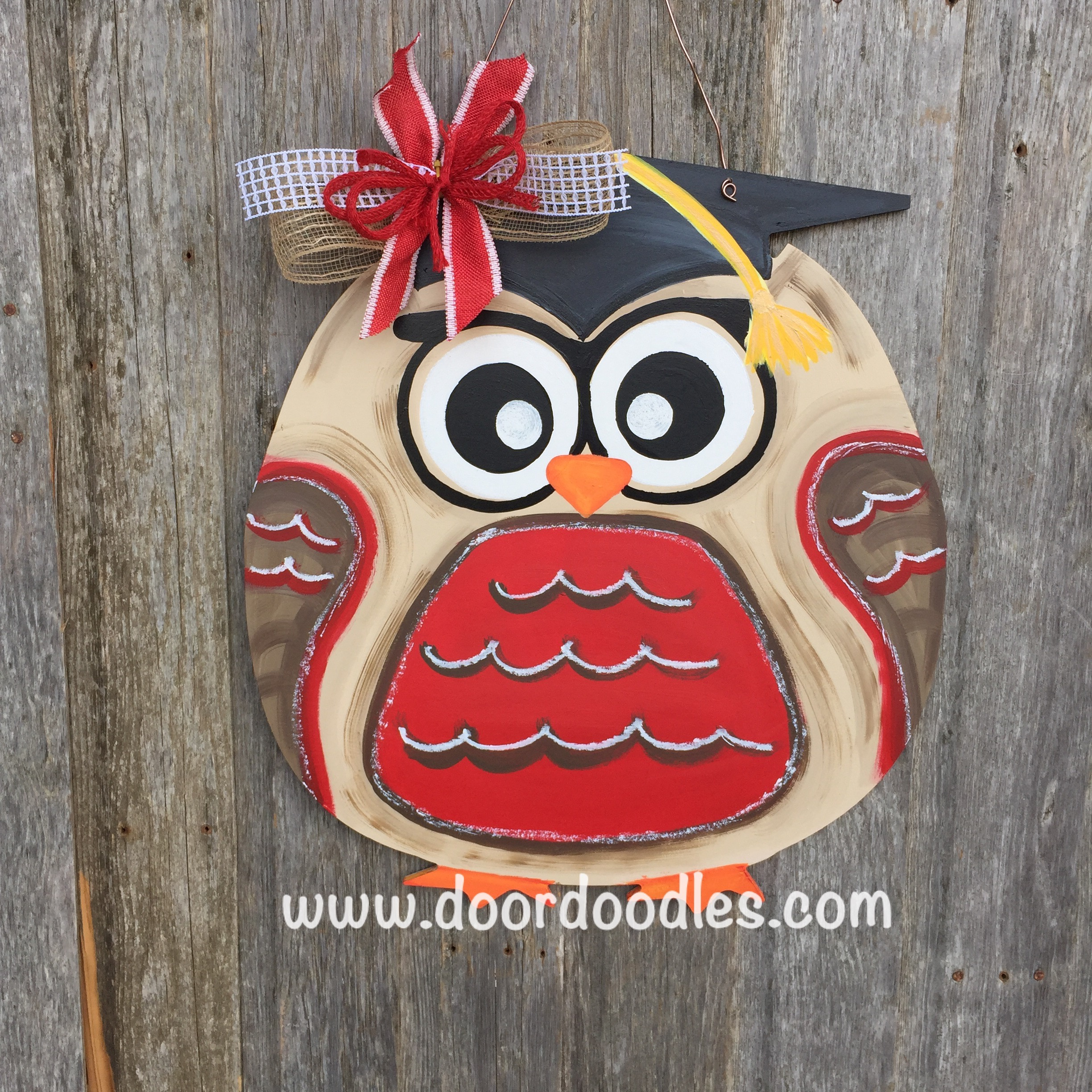 Owl in graduation cap hat front door decoration hang hanger wreath