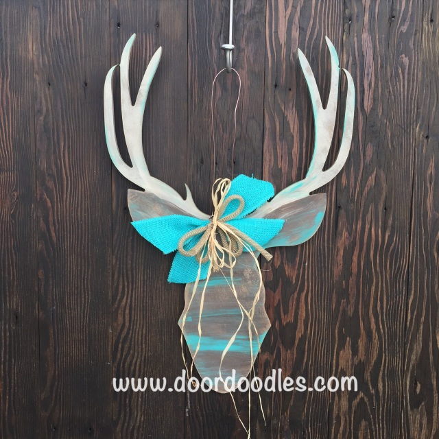 Deer Bust Hunt Hunter Silhouette Outline Front Door Hanger Decoration Hanging Hang Wreath Ornament Wood Wooden Bow Ribbon