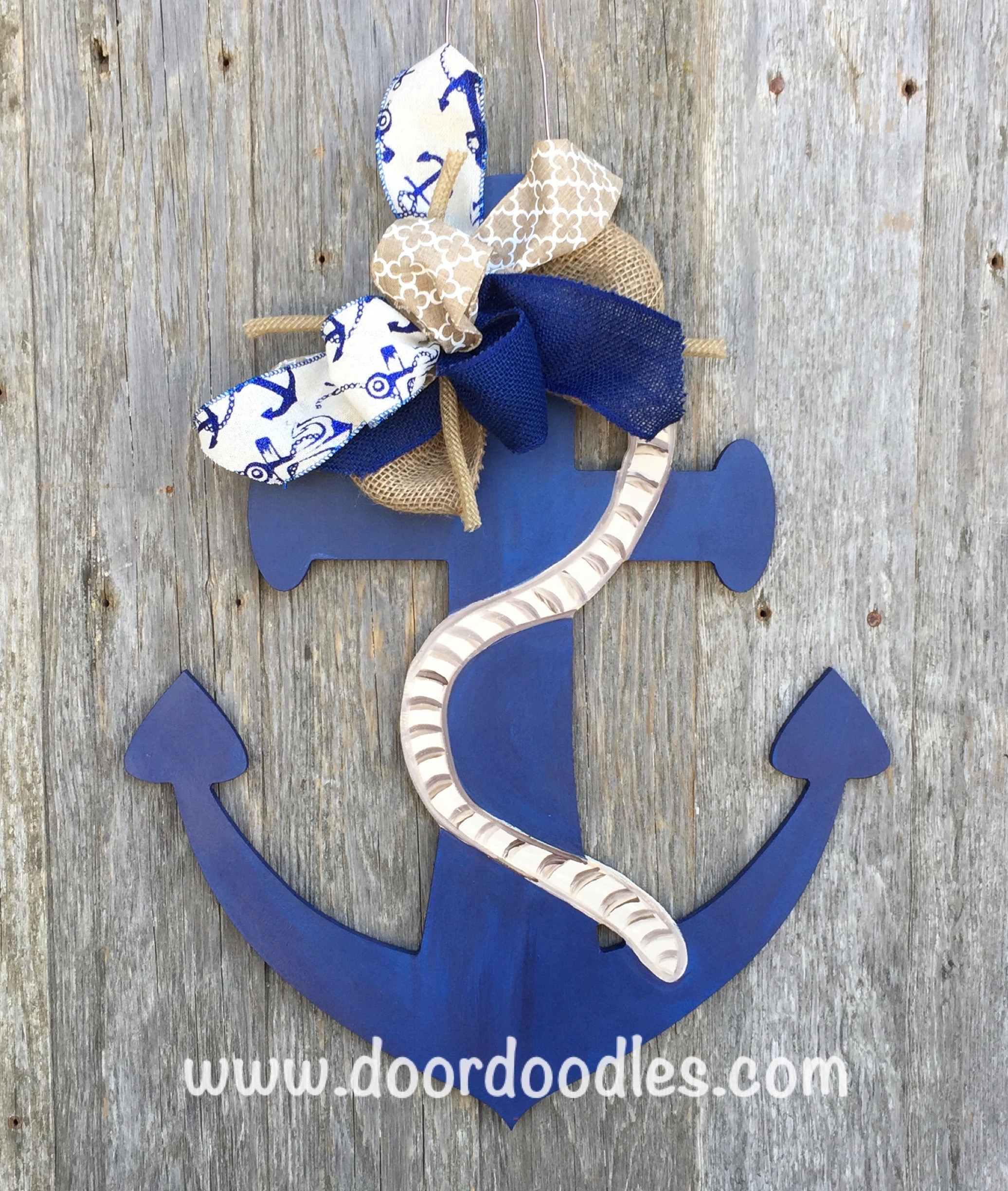 Wooden anchor door hanger wall decoration nautical decor for Anchor decoration