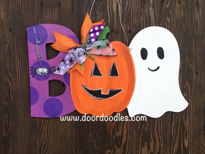 boo halloween door hanger with spider  pumpkin jack o